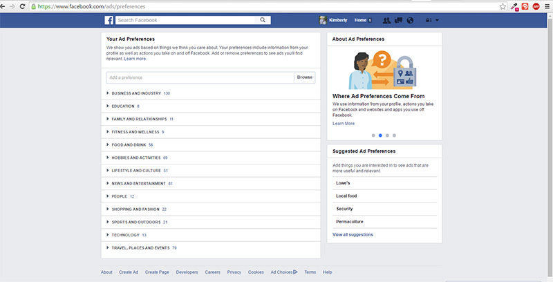 Deleting unwanted interests Facebook ads